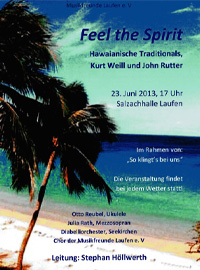Feel the Spirit, Hawaianisches Traditionals - LEitung Stephan Höllwerth