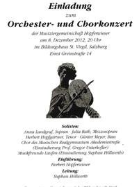 Orchester und Chorkonzert der Musiziergemeinschaft Hopferwieser Leitung Stephan Höllwerth
